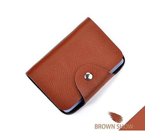 (JD Million shop Men & Women Card Holder Wallet Vintage Genuine Leather Case Card Holder Bag 26 Slots Business Prote Carte Wallet)
