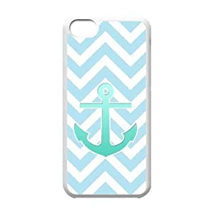 WJHSSB Print Blue Chevron Anchor Pattern PC Hard Case for iPhone 5C