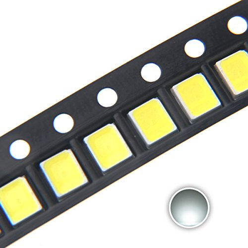 Chanzon 100 pcs 2835 White SMD LED Diode Lights (Surface Mount Chip 2.8mm x 3.5mm DC 3V 150mA 0.5W 50-55LM) High Intensity Super Bright Lighting Bulb Lamps Electronics Components Light Emitting Diodes ()