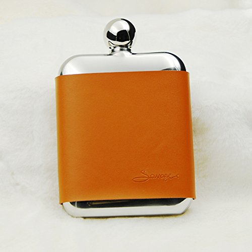 SAVAGE 6oz Hip Flask in Removable Brown Leather Case 18/8 Stainless Steel