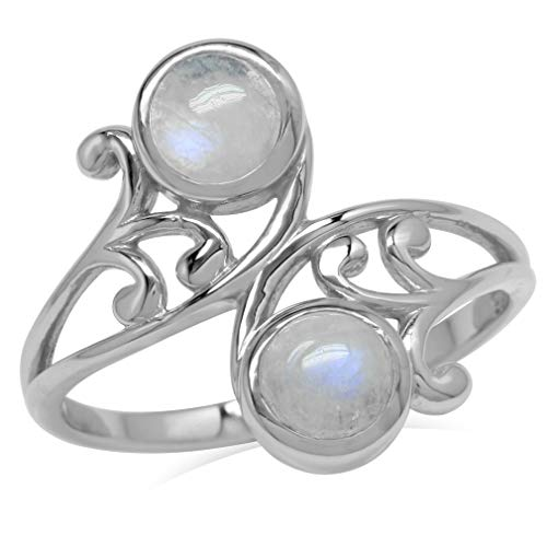 5MM Natural Round Shape Moonstone 925 Sterling Silver Leaf & Swirl Style Bypass Ring Size 8