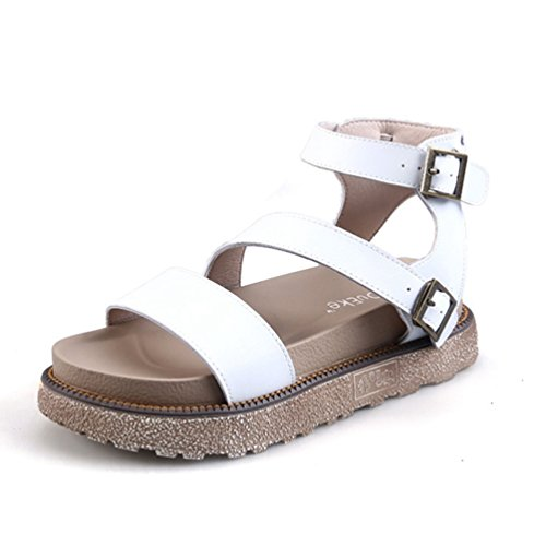 Sandales Ouvert à JRenok 34 Confortable Bout 43 Plateforme Blanche Elégance Blanc Femmes Vintage Chaussures Sandales Z8qvwC