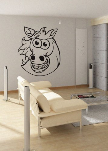 uBer Decals Vinyl Wall Decal Sticker Smiling Cartoon Horse 432 29x25 inches