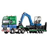 1:50 Scale Cool Giant Platform Lorry Truck Attached Excavator Model Toy for Boys