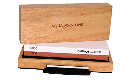 Professional Knife Sharpener 2 Side Sharpening Stone Kit For Chefs, Home Kitchen Knives.Whetstone Grit 1000/6000 Watersone,NonSlip Wood Base, FREE Angle Guide, Silicone Base with Stylish Wood GIFT Box by Aquastone (Image #7)