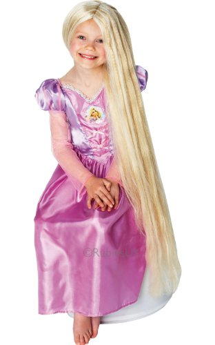 Tangled Fancy Dress (Childrens Rapunzel Glow In The Dark Wig Disney Tangled Fancy Dress Accessory)