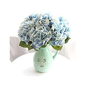 Lucky-fairy 5 Heads Real Touch Artificial Fake Silk Flower Hydrangea Flowers Leaf Bouquets Home Party Wedding Decoration Favor 88
