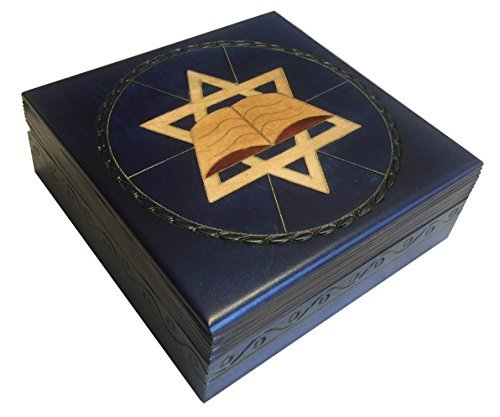 - Blue Star of David Secret Jewelry Keepsake Box Judaica Polish Handmade Jewelry Box