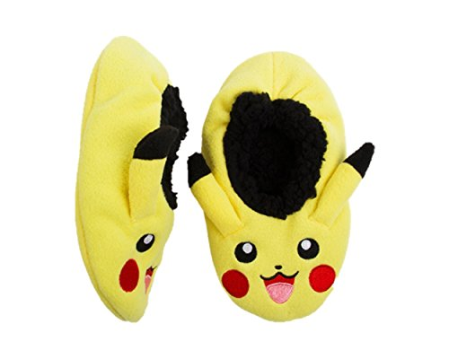 Fuzzy Babba Youth Slipper Socks (S/M Shoe Size 8-13, Pokemon) (Pokemon Shoes Boys)
