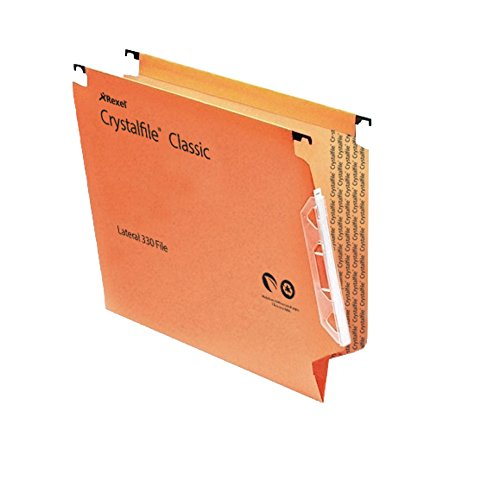 Rexel Crystalfile Classic Lateral File Manilla V-base 15mm W330xH280mm Orange Ref 70671 [Pack of 50] by Rexel