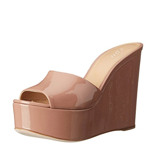 YDN Women High Heels Platform Mules Peep Toe Clogs Slip On Wedge Sandals Slide Shoes Nude (Patent Leather Peep Toe Sandals)