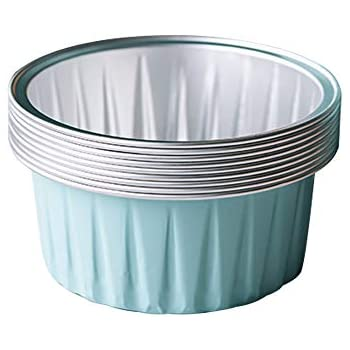 Bakerdream 125ml Aluminum Foil Cake Cups Muffin Cupcake Ramekin Cup Reusable Baking Cups for Cream Brulee Tart Mold Dessert Pans Pack of 30 (Light blue)
