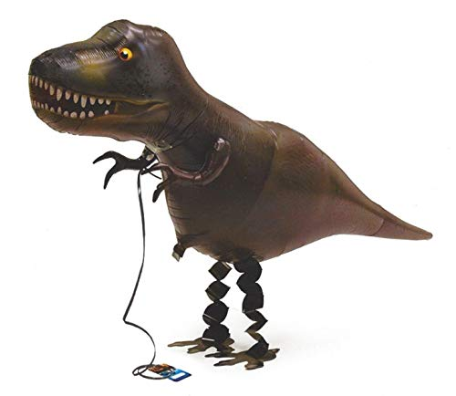 My Own Pet Super T-Rex Air Walker Helium Inflatable Balloon Dark Camo Green Black Lizard Reptile Color w/ Gold Eye and White Teeth 22 in H x 35 in L 1 Tyrannosaurus Dinosaur Ribbon Leash and Handle