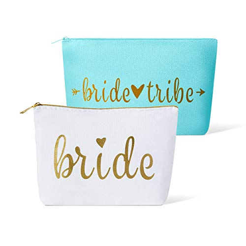11 Piece Set of Bride Tribe and Bride Canvas Makeup Bags for Bachelorette Parties, Weddings and Bridal Showers! (Bride Tribe, Turquoise) - Weekend Gift Set