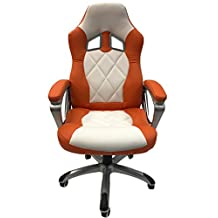 ViscoLogic® Series YF-2710 WO Gaming Racing Style Swivel Office Chair (White & Orange)