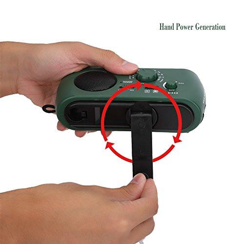 Aramox Hand Crank Self Powered AM/FM Radio Solar Power Emergency NOAA Weather Radio with Power Bank, Emergency Phone Charger, Flashlight by Aramox (Image #6)