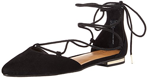 Topline Women's Enight Pointed Toe Flat, Black, 8.5 M US Ankle Tie Flats