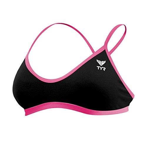 TYR Women's Solid Trinity Bikini Top (Medium, Black/Pink) ()