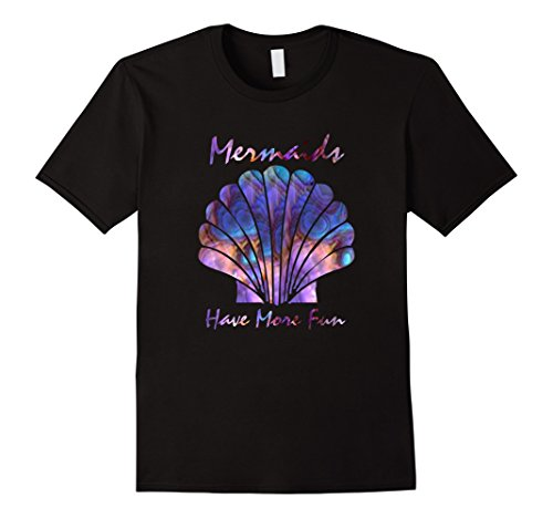 Men's purple turquoise blue seashell mermaids have more fun tshirt 2XL Black