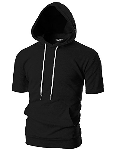 OHOO Mens Slim Fit Short Sleeve Lightweight Hoodie with Kanga Pocket/DCF013-BLACK-M