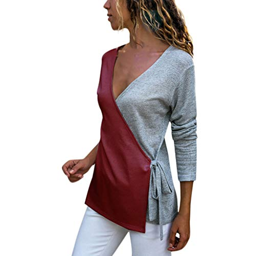 - Womens Splice Casual V-Neck Long Sleeve Cross Bandage Colorblock Blouse Tops