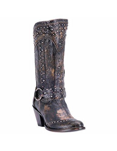 Dan Post Round Boots - Dan Post Women's Sexy Back Studded Fashion Western Boot Round Toe Black 9 M
