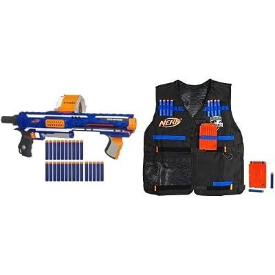 Nerf N-Strike Elite Rampage Blaster and Nerf N-Strike Elite Tactical Vest Kit Bundle: Toys & Games