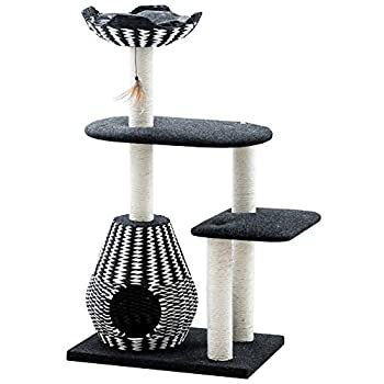 Image of Pet Supplies Ace - PetPals Cat Tree & Cat Condo-Four Level Perch & Condo Lounger, 27 x 19 x 49', Black/White
