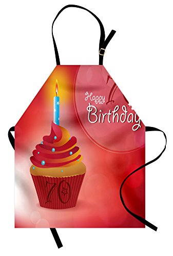 Ambesonne 70th Birthday Apron, Abstract Sun Beams Inspired Backdrop with Surprise Party Cupcake Image, Unisex Kitchen Bib Apron with Adjustable Neck for Cooking Baking Gardening, Red and Orange