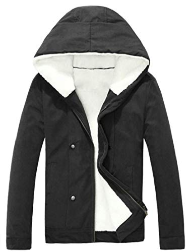 Fleece Zip Warm Front Coat TTYLLMAO Men's Black Thicken Down with Hood Jacket Winter BwaHWO6q