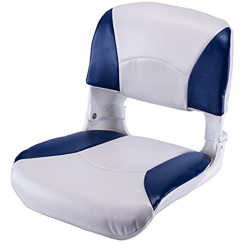 Back Boat Vinyl Seat (Low Back Bass Pro Style Folding Fishing Boat Seat with Marine Grade Cushion Pads Blue/White)