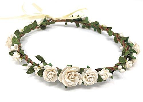 Daddasprincess Flower Girl Crown Wedding Boho Headpiece Headband Hair Wreath -