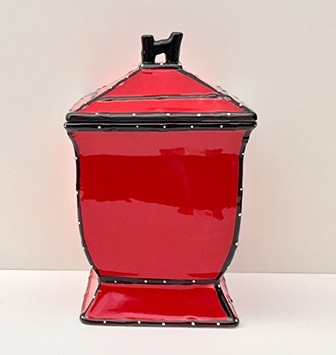Tuscany Hand Painted Red Ruffle Cookie Jar, 85276 by ACK - Hand Painted Jar