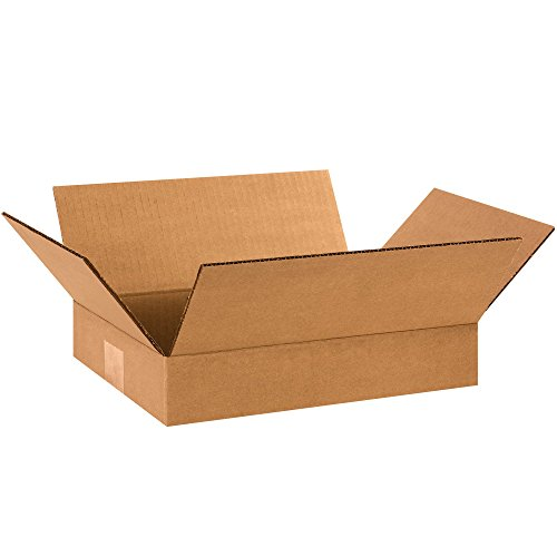 Partners Brand P1292 Flat Corrugated Boxes, 12'' L x 9'' W x 2'' H, Kraft (Pack of 25) by Partners Brand