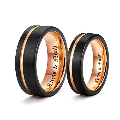 - LerchPhi Personalized Engraved Promise Ring for Couples Engagement Wedding Bands Couples Matching Rings Black Tungsten Carbide Satin Finish Rose Gold Comfort-fit