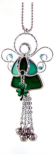 Irish Angel Suncatcher Stained Glass with Shamrock and Bell (Stained Glass Shamrock Suncatcher)