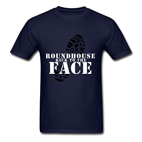 Bangie Summer Style Roundhouse Kick To Face Men's T Shirt Navy XX-Large -