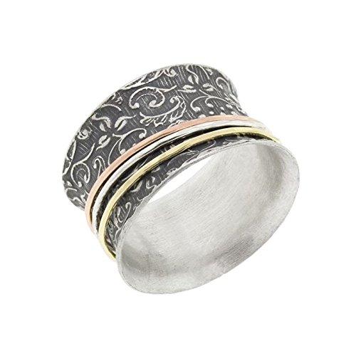 (Antiqued Silver Vine Tri-Tone Spinner Ring)