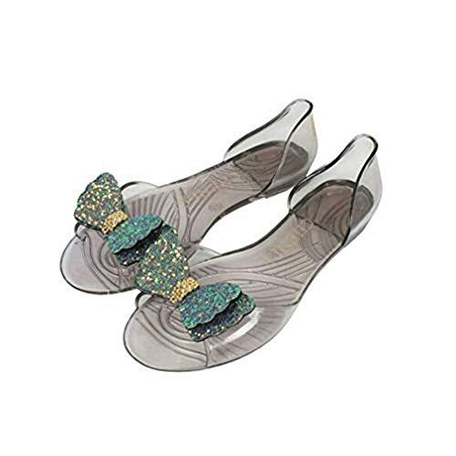 - T-JULY Women's Clear Jelly Butterfly Flat Sandals Bowknot Transparent Peep Toe Slip on Dress Soft Beach Slides Green
