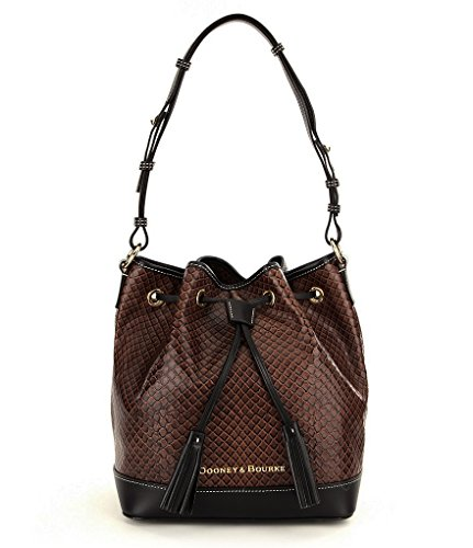 new-authentic-dooney-and-bourke-cordova-drawstring-embossed-leather-shoulder-bag-dark-taupe