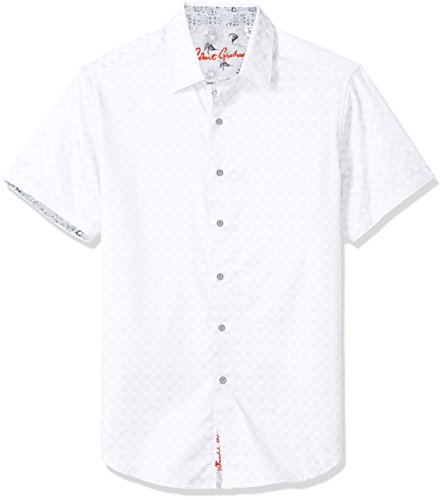 (Robert Graham Men's Diamante Short Sleeve Classic FIT Shirt, White, XLarge)