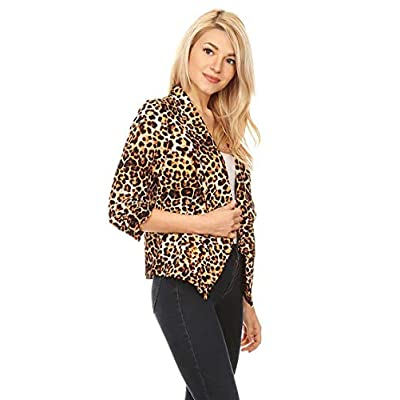 Women's Casual 3/4 Sleeve Open Front Cardigan Jacket Work Office Blazer with Plus Size at Women's Clothing store