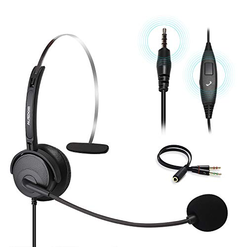 Computer Headset with Noise Cancelling Mic, AUSDOM BH01 Single-Sided 3.5 mm Wired Business Headset with Volume, Call…