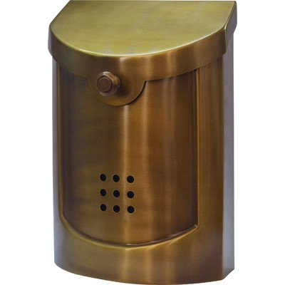Ecco E5 Wall Mounted Mailbox, Satin Brass, Small
