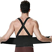 Light Back Brace for Men - Lumbar Support for Lower Back Pain - Belt with Suspenders / Shoulder Straps for Gym / Posture / Training / Bodybuilding / Weight Lifting or Work Safety - NEOtech Care ( TM ) Brand - Black Color - Size L