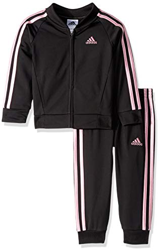 adidas Girls' Little Zip Jacket and Pant Set, Tricot Black, 4