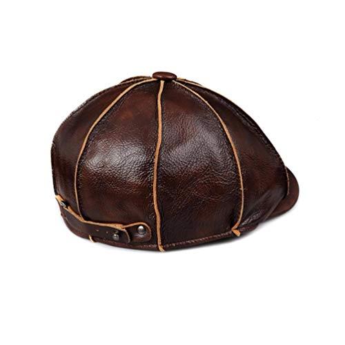 Ladies' Cap E Pac Hermoso C Y Marrón Vaquero Invierno hat Los Otoño Leather Real Happy Hombres De Sombrero Pac Cuerpo ORSngq