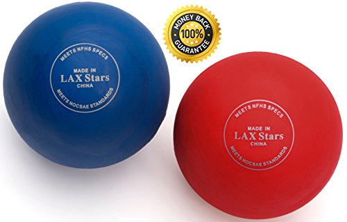 Lacrosse Balls By LAX Stars Myofascial Tension Release, Fascia Release, Massage Balls for Foot, Massage Balls for Back, Trigger Point Therapy Balls, Muscle Knots, Yoga, Pack of 2 Balls (Red - Lax In Stores