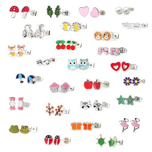 Jewelry Stud Earrings Set 27 Pairs Stainless Hypoallergenic Steel Mixed Color Cute Animals Fox Heart Star Ladybug Umbrella White Pearl CZ