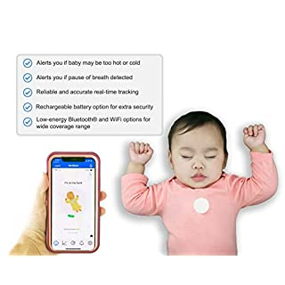 MonBaby (A) Baby Monitor with Breathing, Rollover and Temperature Sensors: Track Baby's Breathing, Body Movement, Ambient Temperature. No Skin Contact Necessary.